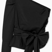 Kinikiss Black Oblique Bow Tie Shirt