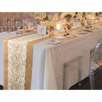"""10pcs Table Runner Natural Burlap Lace Wedding Decoration 42.5"""" x 11.75"""" High Quality"""