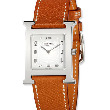 Hermès Heure H MM Watch with Epsom Leather Strap