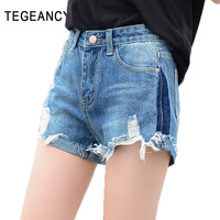 TEGEANCY 2017 Summer Vintage High Waisted Denim Shorts Women Tear Ripped Shorts Black Jeans Female Plus SIze XL Blue Hot Short