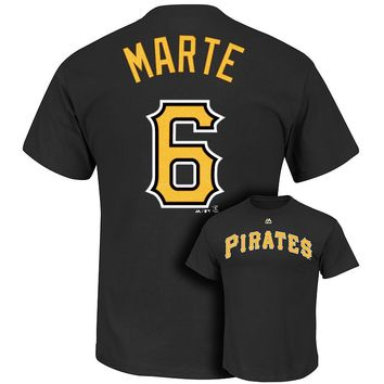 Majestic Pittsburgh Pirates Starling Marte Player Name and Number Tee