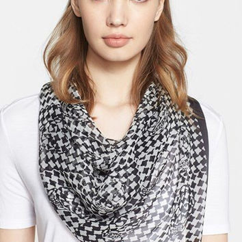 Alexander Mc Queen Black And White Houndstooth And Skull Print Silk Chiffon Scarf New  (Alexander McQueen)