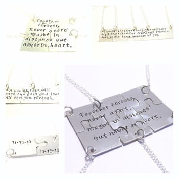Sterling Silver Hand Cut Puzzle Piece Necklace Set- Together Forever, Never Apart, Bridesmaid Jewelry, Family, Personalized Jewelry