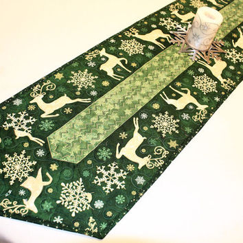 Long Christmas Quilted Table Runner, Reindeer and Snowflakes on Green