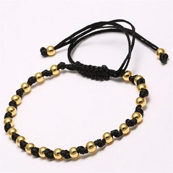 Hand-Woven Men's Gold Plated 4mm Round Beaded Bracelet