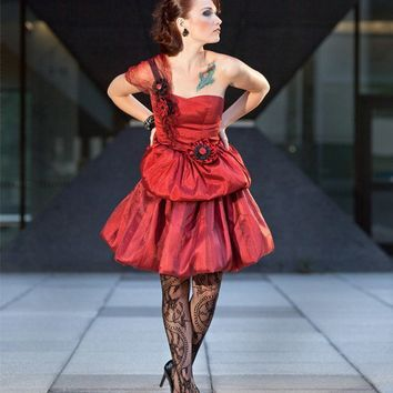 Red Starlet Party Dress  Faux Silk Dupioni Organza by blasphemina