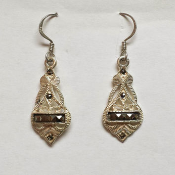 Vintage Sterling Silver & Marcasite Earrings, Estate Jewelry - Gorgeous, Very Detailed! Flapper Style, Free Shipping!