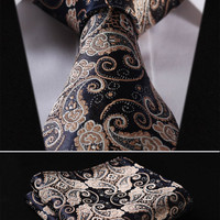 "TF2013D Gold Navy Blue Paisley Floral 3.4"" 100%Silk Wedding Jacquard Woven Men NECKTIE"