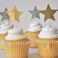 12 Glitter Star Cupcake Toppers in Silver, Gold, Blue, Pink, or Purple