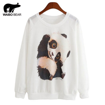 Panda Printed Sweatshirts Casual Pullovers Women Hoodie Sports Sudaderas Girls Pullovers Women Sport Suit Casual Tops Hoody