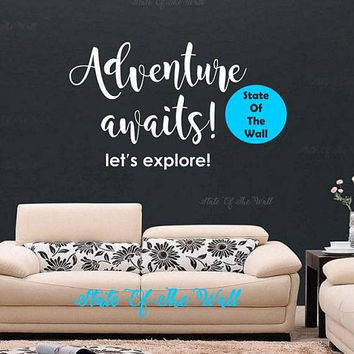 Adventure awaits Wall Decal travel explore Vinyl Sticker Art Decor Bedroom Design Mural home decor room decor trendy modern