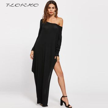 Womens Sexy Elegant long Sleeves Off Shoulder High Slit Formal Evening Party Dress Sexy Club Loose Casual Maxi Long Dress Female