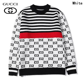 GUCCI Autumn Winter Popular Women Men Casual Long Sleeve Knit Sweater Sweatshirt White