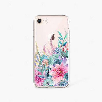 Succulent iPhone 8 Plus Case Clear iPhone 8 Case iPhone 7 Plus Clear Case iPhone 6 Case Clear iPhone X Case Samsung Galaxy S8 Case