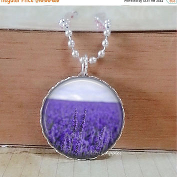 ON SALE Lavender fields necklace, purple flower, photo pendant