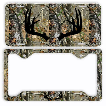 Black Antlers Camo Deer License Plate Frame Car Tag Country Hunting
