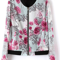 ROMWE | Stand Collar Floral Print Zipper Jacket, The Latest Street Fashion