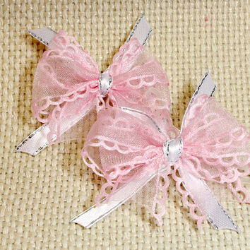 Pink Ribbon Small Dog Bows. Pink Scalloped Edge Organza Ribbon with White Satin Ribbon with Silver Line. Perfect for Little Puppies