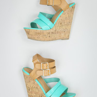 Faux Leather Wedges in Turquoise