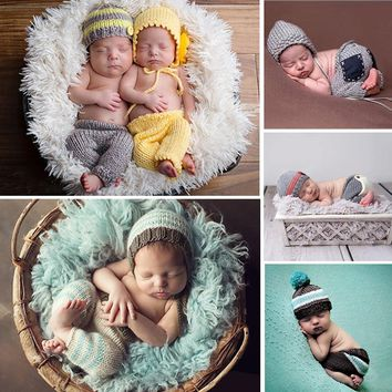 Newborn Photography Props Infant Baby Girls Boys Crochet Knitted Costume Set Cute Baby Winter Hats and Pants Outfits Clothes Set