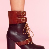Andee Strapped Boot - Brown - NASTY GAL