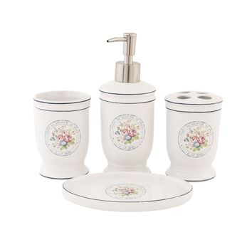 Set da bagno in ceramica, stile Shabby Chic: Amazon.it: Casa e cucina