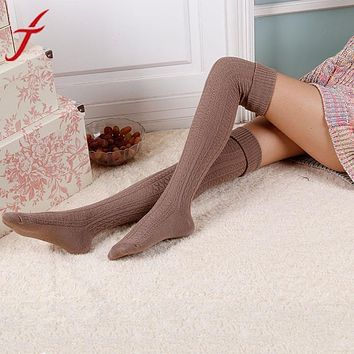 Women Girl Winter Over Knee Leg Soft Knit Crochet sock