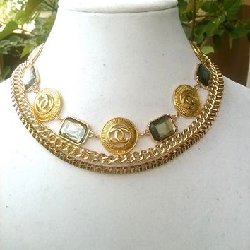 Stunning Gold Designer Statement Runway Necklace