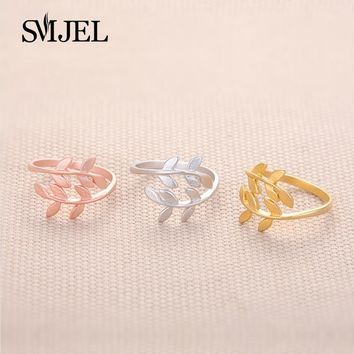 SMJEL Laurel leafy Open Rings for Women Accessories Oliver Branches Leaves Brief Finger Ring Female Anillos Rustic Jewelry R068