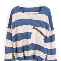 Blue Stripes Loose Sweater with Pocket ST001L
