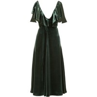 Deep V-neck velvet midi dress Valentino MATCHESFASHION.COM