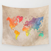 World Map Maps Wall Tapestry by Jbjart