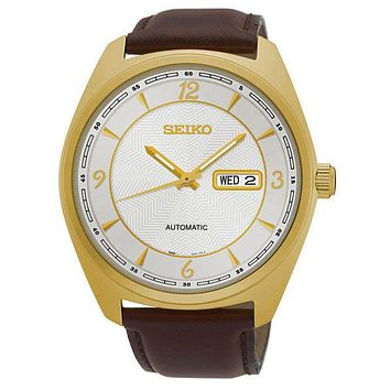 Seiko Mens Recraft Automatic Day/Date Watch - White Dial - Gold-Tone - Leather