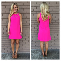 Fuschia Pink Starburst Shift Dress