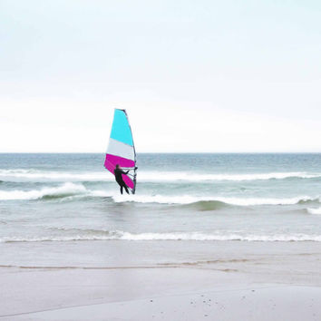 Ocean Windsurfing Red White and Blue or Aqua and Pink -  Fine Art Photo -FREE SHIPPING