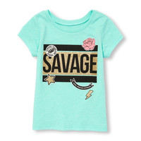 Toddler Girls Short Sleeve Glitter 'Savage' Graphic Tee | The Children's Place