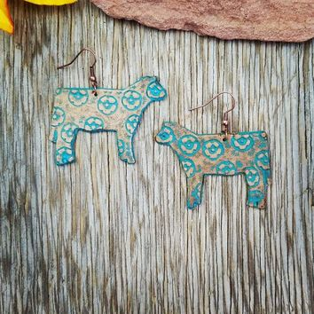 Patina Floral Leather Steer Earrings