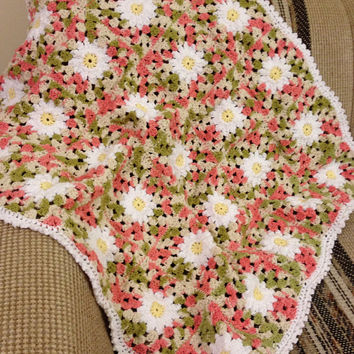 OOAK 100% Cotton Daisy Squares Blanket - Hand Crochet Cotton Daisy Motif Baby Afghan