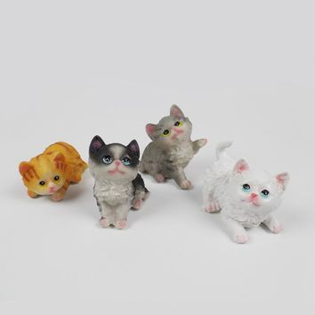 hohappyme Cat Figurines Miniature Animal Decoration Fairy Garden Statue Model Resin Craft Home Decor Gift Bonsai Ornaments