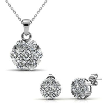 Cluster Crystal Earring and Necklace Set