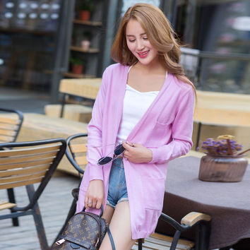 New Fashion Maxi Long Cashmere Sweater Women Cardigan Coat Female Single Breasted Knitted Sweaters V-Neck Wool Cardigan 2017 sp