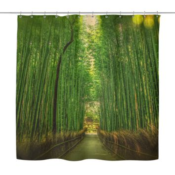 Pathway Through Shower Curtain