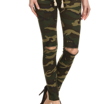 Camouflage Print Full Length Fitted Pants P1602-1