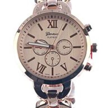 Geneva Roman Numerals Metal Link Band Fashion Watch