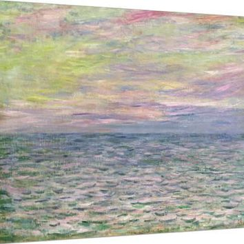 On the High Seas, Sunset at Pourville Stretched Canvas Print by Claude Monet at Art.com
