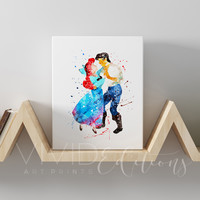 Ariel & Prince Eric, The Little Mermaid Gallery Wrapped Canvas