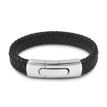 Men's Large Buckle Black Leather Bracelet