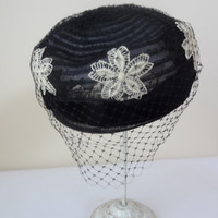 black pillbox hat with veil white flowers vintage 30s 40s 50s 60s
