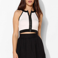 Sparkle & Fade Colorblock Zip Cropped Top - Urban Outfitters