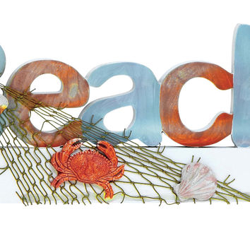 Wood Beach Sign In Marine Theme With Net And Marine Life